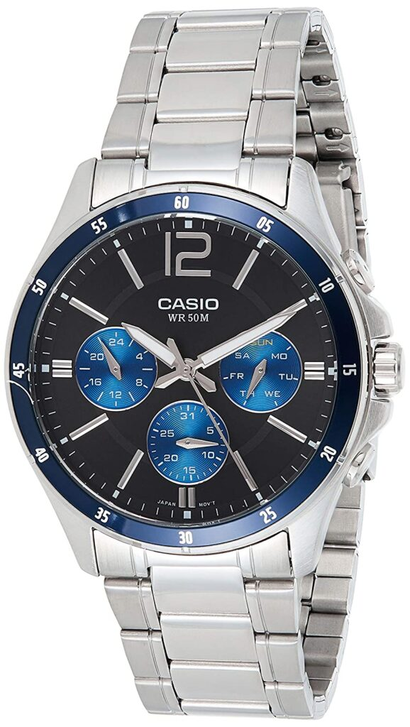 Casio Enticer analog black and blue watch